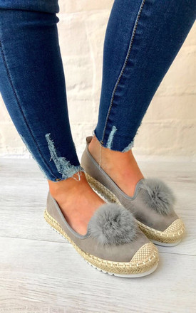 Grey Pom Pom Espadrilles by Styled Clothing Product photo