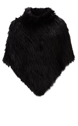 Black Poncho In Faux Fur by Urbancode London Product photo