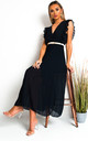Bryanna Pleated Maxi Dress in Navy by IKRUSH
