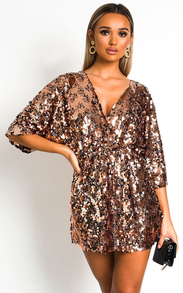 Sally Sequin Playsuit in Rose Gold by IKRUSH