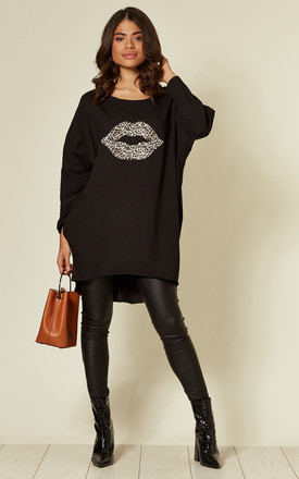 Erica Black Batwing Animal Lips Top by Blue Vanilla Product photo