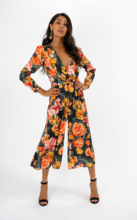 Charlie Floral Button Culotte Jumpsuit by Style Cheat