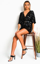 Sally Sequin Playsuit in Black by IKRUSH