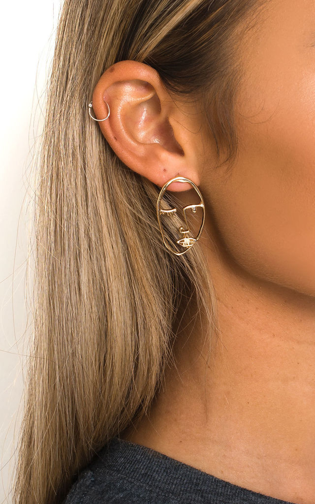 Ains Face Statement Earrings in Gold by IKRUSH