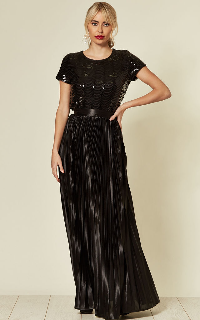 Satin Pleated Maxi Skirt in Black by Mela London