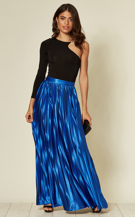 Pleated Metallic Maxi Skirt in Cobalt by Mela London