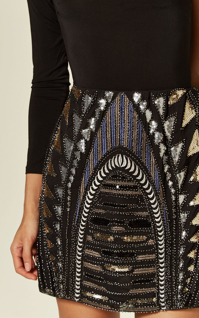 Black Multi Sequin Embellished Christmas Party Mini Skirt by TENKI LONDON