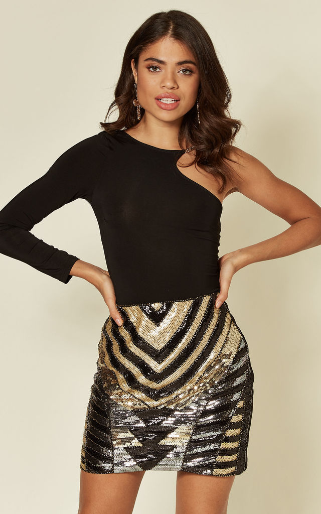 Black & Gold Sequin Embellished Christmas Party Mini Skirt by TENKI LONDON
