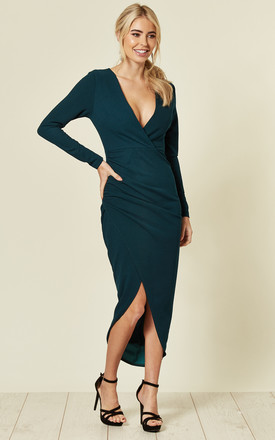 Emerald Green Deep V Wrap Over Ruched Dress by AX Paris Product photo