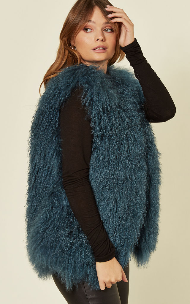 Gilet in Dark Blue Mongolian Lambswool by FS Collection