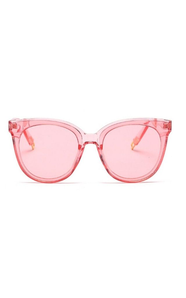Ame Cat Eye Sunglasses In Pink Mirror/Clear by Don't Be Shady
