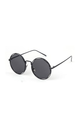 Nadine Circle Wire Sunglasses In Black by Don't Be Shady
