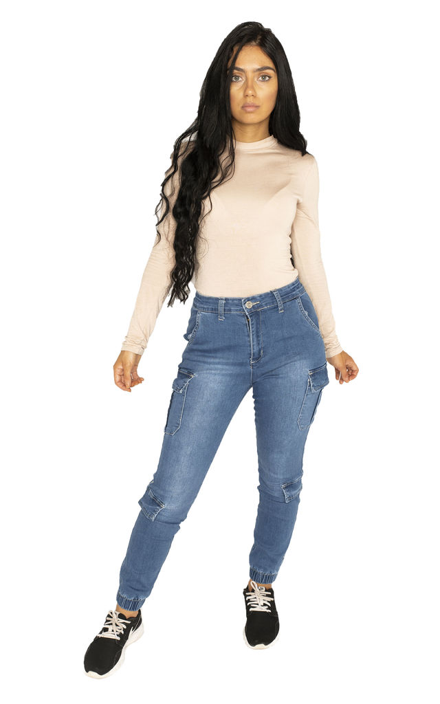 Blue Skinny Cuffed Cargo Jeans by Glamour Outfitters