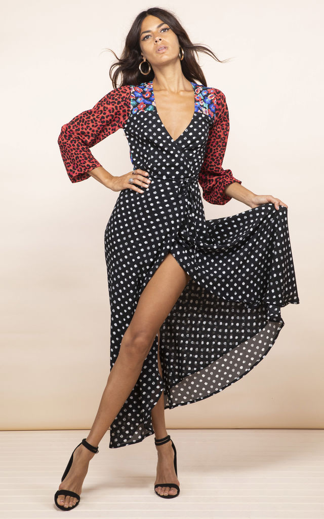 JAGGER DRESS IN Dotty and RED LEOPARD mix print by Dancing Leopard