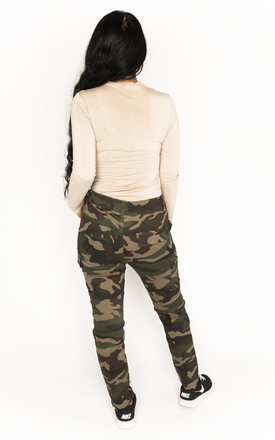 Green & Brown High Waist Camouflage Cargo Pants by Glamour Outfitters