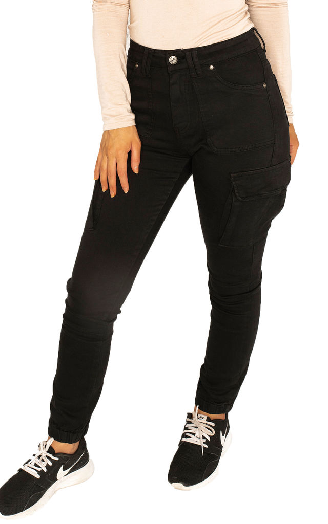 Black Slim Cuffed Cargo Pants by Glamour Outfitters