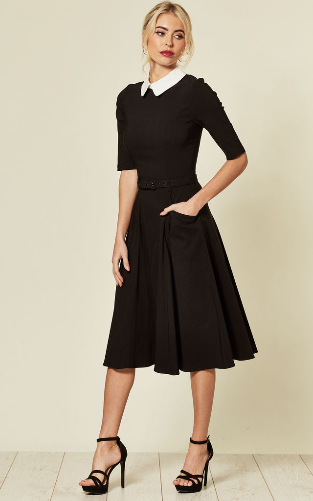 Winona Long Sleeve Midi Skater Dress With Waist Belt by Collectif Clothing