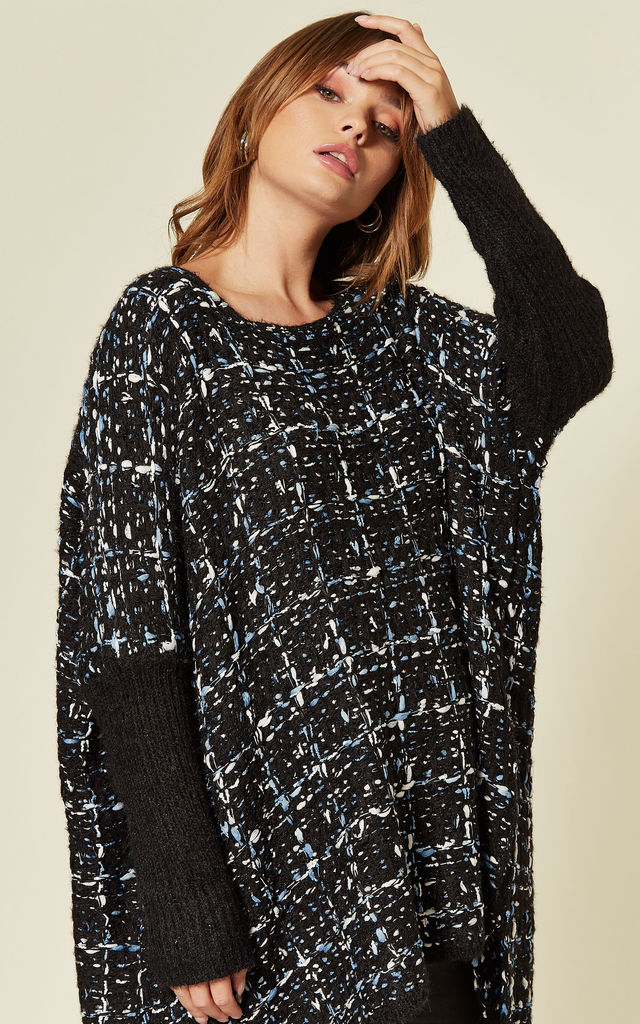 Oversized Knitted Jumper in Black and Blue Tweed Effect by CY Boutique