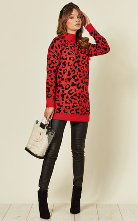 Long Sleeve High Neck Jumper in Red Leopard Print by CY Boutique