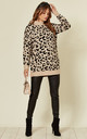 Long Sleeve High Neck Jumper in Beige Leopard Print by CY Boutique