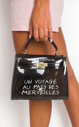 Xanthe Clear Slogan Handbag in Black by IKRUSH