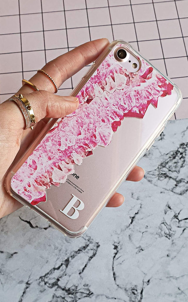 Pink Crystal Clear monogram phone case by Rianna Phillips