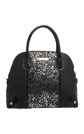 GLITTERY SHELL SHAPED TOTE BAG BLACK by BESSIE LONDON