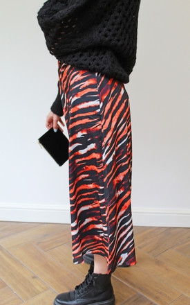 Belted Midi Skirt in Red Tiger Print by Till We Cover