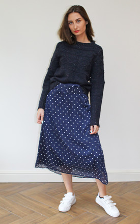 Belted Midi Skirt in Navy Polka Dot by Till We Cover