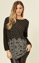 Black Oversized Top with Sweetheart & Polka Dot Print by CY Boutique