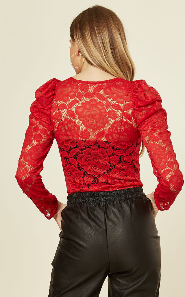 Lace Puff Sleeve Bodysuit in Red by Gini London