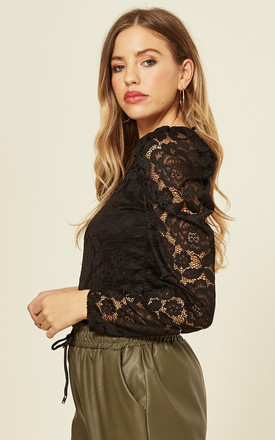 Lace Puff Sleeve Bodysuit in Black by Gini London