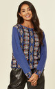 Long Sleeve Jumper with Metallic Gold Trim in Blue and Black Fairisle Print by CY Boutique