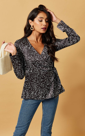 Satin Wrap Top In Black Scatter Print by Phoenix & Feather Product photo