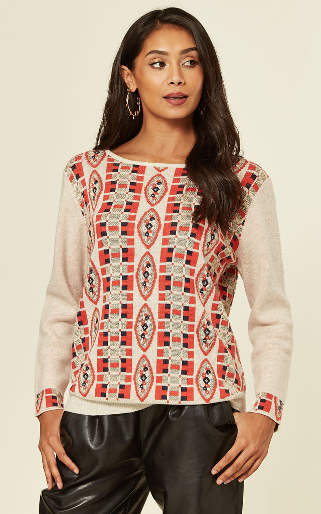 Long Sleeve Jumper With Metallic Gold Trim in Red and White Fairisle Print by CY Boutique