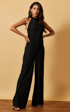 Choker Neck Sparkly Jumpsuit In Black by Phoenix & Feather Product photo