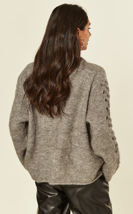 Light Grey Fuax Mohair Blend Jumper with Lace Up Sleeves by CY Boutique