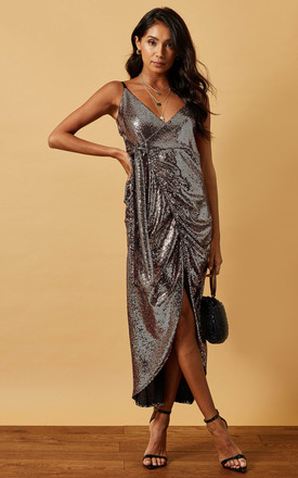 Sequin Cami Dress With Wrap Front In Bronze by Phoenix & Feather Product photo