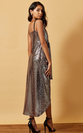 SEQUIN CAMI DRESS WITH WRAP FRONT IN BRONZE by Phoenix & Feather