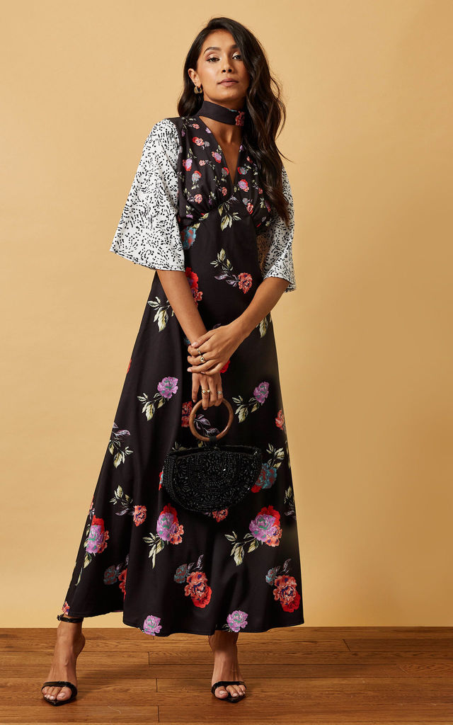 MAXI DRESS WITH CHOKER IN MIXED FLORAL PRINT by Phoenix & Feather