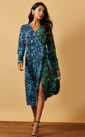Midi Wrap Dress In Two Tone Animal Print by Phoenix & Feather Product photo
