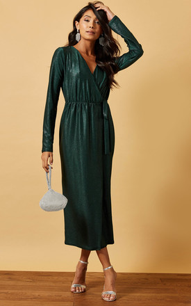 Midi Wrap Dress In Shimmer Green by Phoenix & Feather Product photo