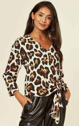 RUCHED FRONT LEOPARD PRINT BLOUSE by DIVINE GRACE