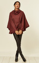 Belted cape Jacket burgundy by Feverfish