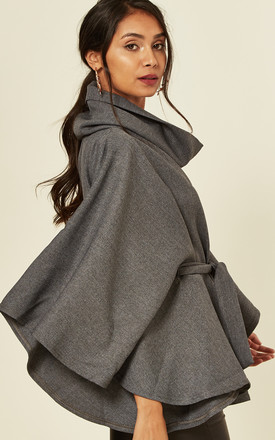 Belted cape Jacket grey by Feverfish