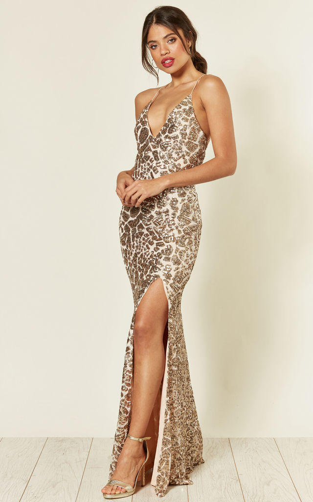 Gina Backless Maxi Dress in Gold Sequin by Honor Gold