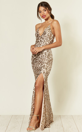 Gina Backless Maxi Dress In Gold Sequin by Honor Gold Product photo