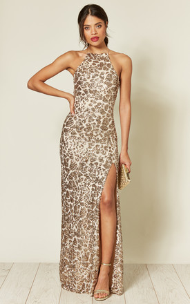 Holly Gold Sparkle Sequin Backless Maxi Dress by Honor Gold Product photo