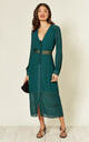 The Kipling, Lacetrim Midi Dress in Green by LIENA