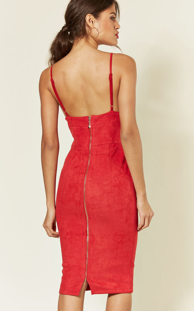 Fitted Faux Suede Midi Dress In Red by LOVEMYSTYLE